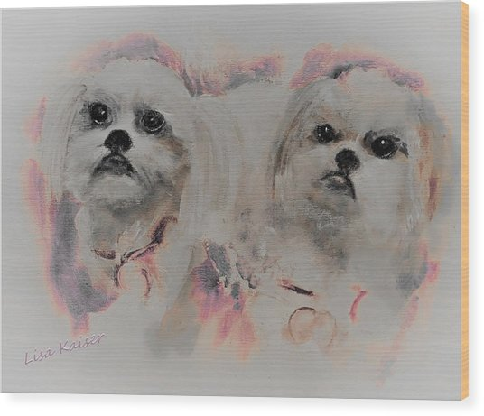 Unconditional Love Shih Tzu Painting Wood Print