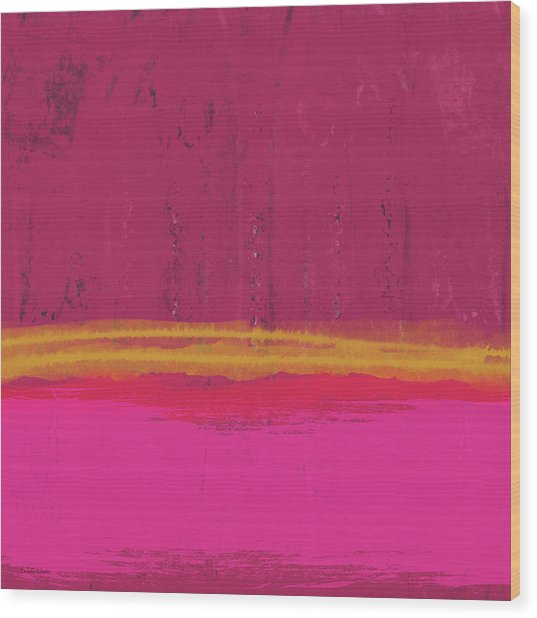 Undaunted Pink Abstract- Art By Linda Woods Wood Print