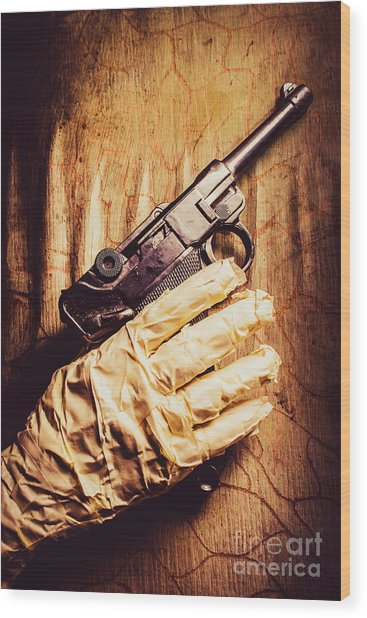 Undead Mummy  Holding Handgun Against Wooden Wall Wood Print