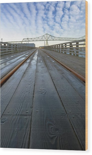 Under Astoria Megler Bridge On Riverwalk Wood Print