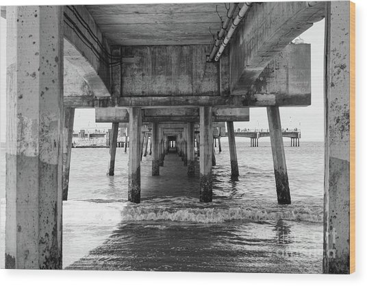 Under Belmont Veterans Memorial Pier Wood Print