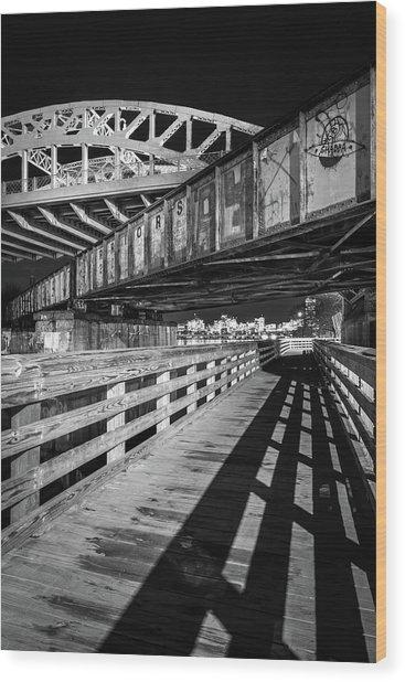 Under Boston University Bridge Wood Print