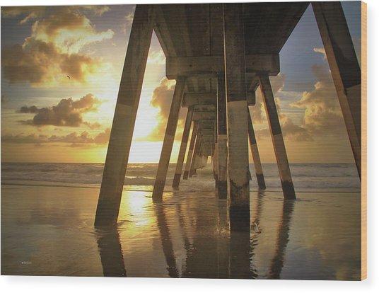 Under Johnny Mercer Pier At Sunrise Wood Print