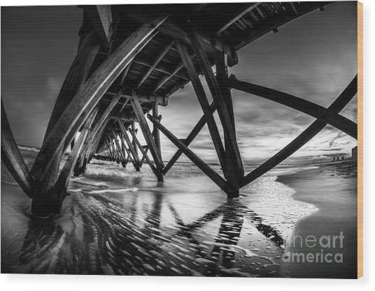 Under Sea Cabin Pier At Sunset Wood Print