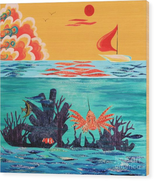 Bright Coral Reef Wood Print