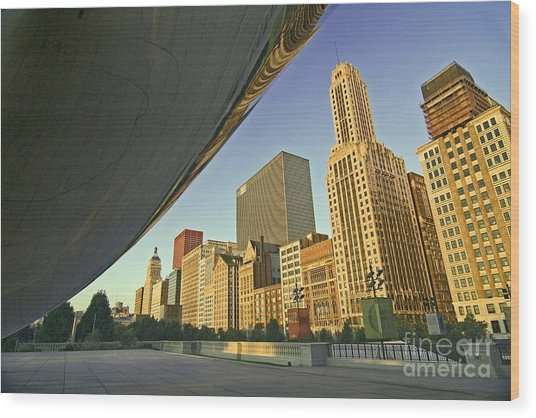 Under The Bean And Chicago Skyline Wood Print