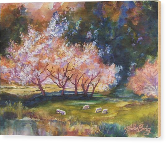 Under The Blossom Trees Sold Wood Print by Therese Fowler-Bailey