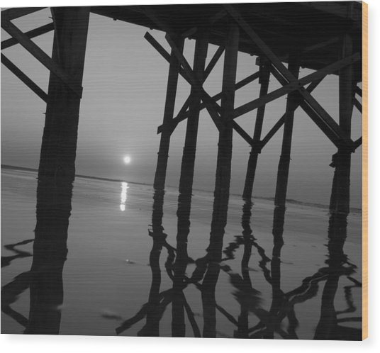 Under The Boardwalk Bw1 Wood Print by Tom Rickborn