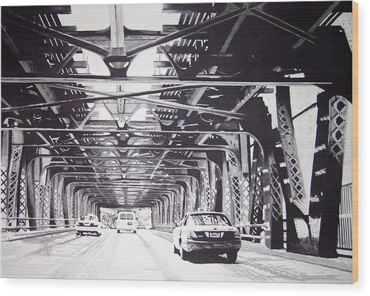 Under The El Wood Print by Scott Robinson