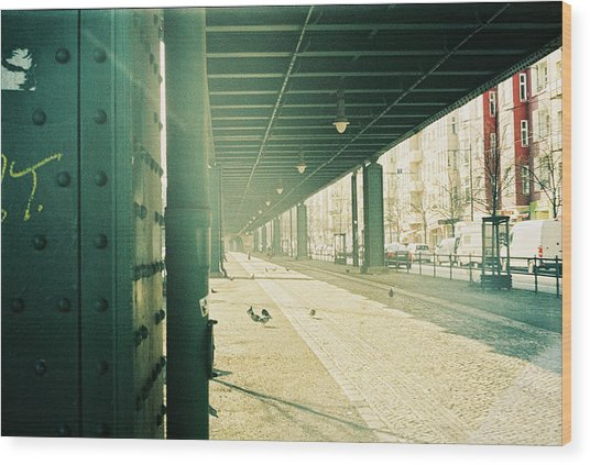 Under The Elevated Railway Wood Print