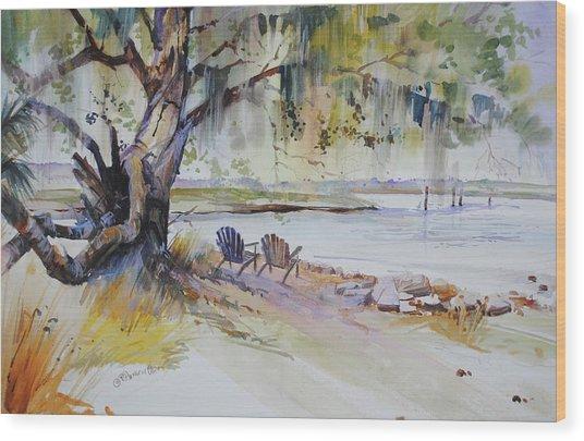 Under The Live Oak Wood Print