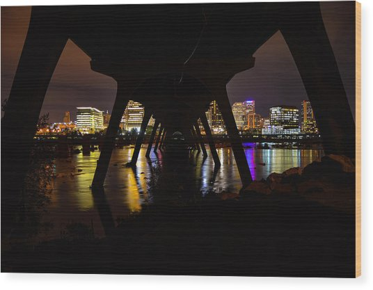 Under The Manchester Bridge Wood Print