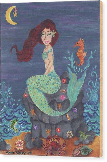 Under The Merlight Sea Wood Print