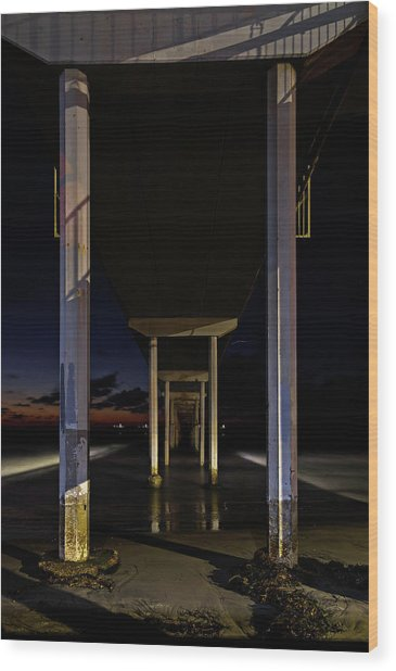 Under The Ocean Beach Pier At Sunste Wood Print