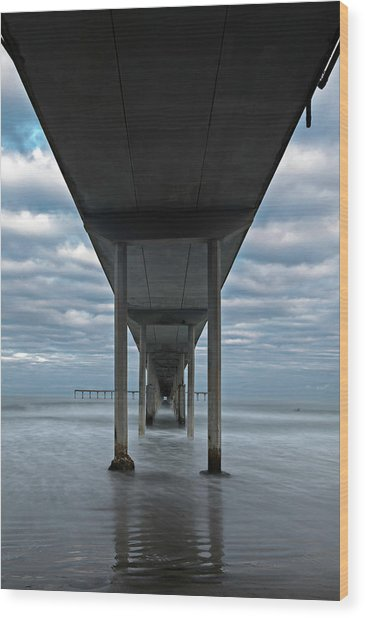 Under The Ocean Beach Pier San Diego Early Morning Wood Print