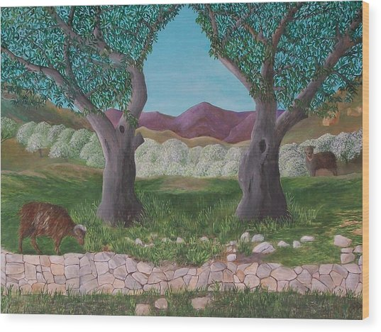 Under The Olive Trees Wood Print