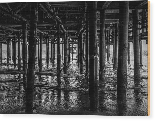 Under The Pier - Black And White Wood Print