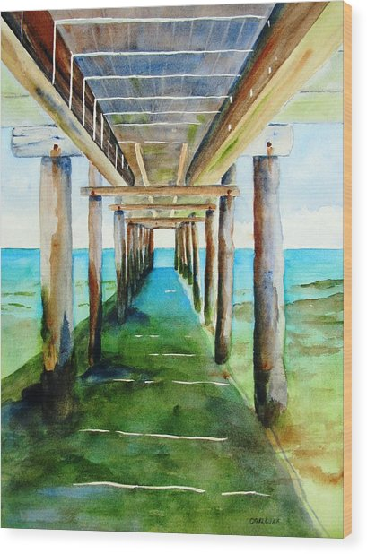 Under The Playa Paraiso Pier Wood Print