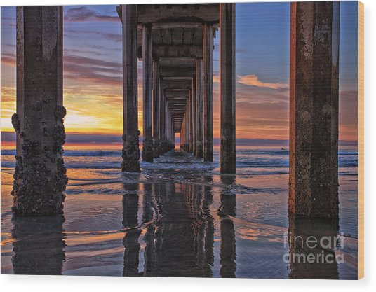 Under The Scripps Pier Wood Print
