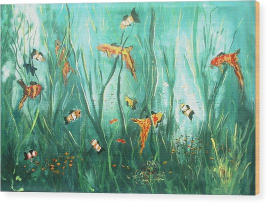 under the sea I Wood Print by Miroslaw  Chelchowski