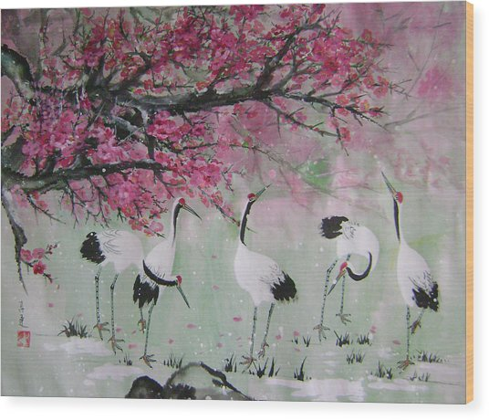 Under The Snow Plums 2 Wood Print by Lian Zhen