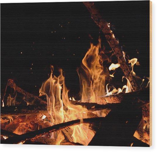 Under The Sparks Wood Print