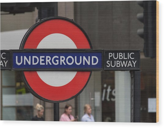 Underground Sign London Wood Print