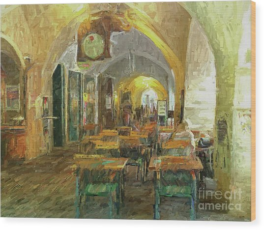 Underneath The Arches - Street Cafe, Prague Wood Print