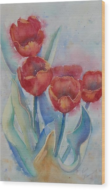 Wood Print featuring the painting Undersea Tulips by Ruth Kamenev