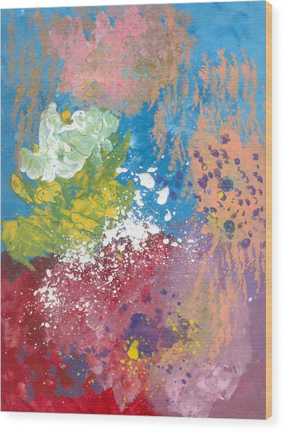 Underwater Abstract Wood Print by Helene Henderson