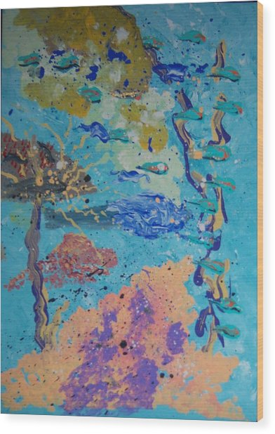 Underwater Abstract No. 3 Wood Print by Helene Henderson