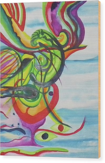 Underwater Psychedelic Bird Wood Print by Erika Swartzkopf