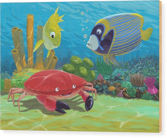 Underwater Sea Friends Wood Print