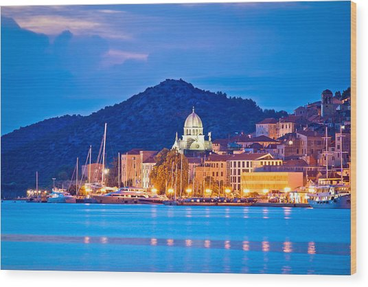 Unesco Town Of Sibenik Blue Hour View Wood Print