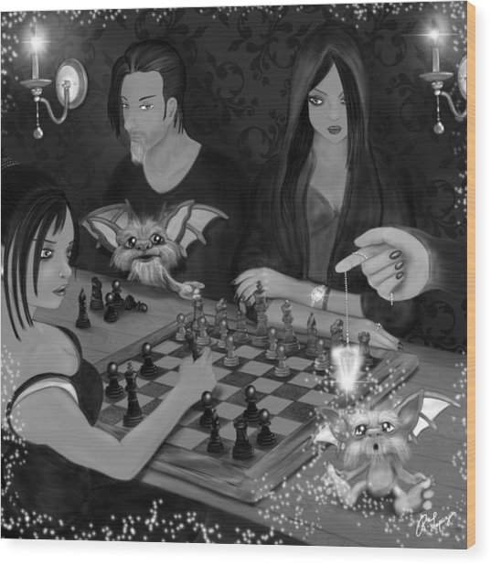 Unexpected Company - Black And White Fantasy Art Wood Print
