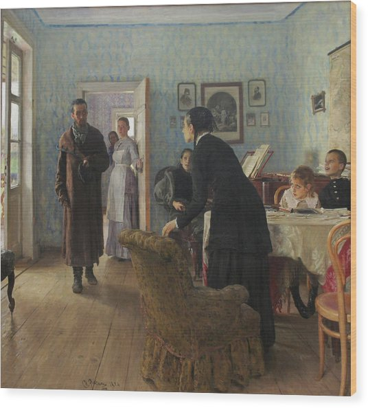 Unexpected Visitors Wood Print by Ilya Repin