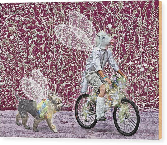 Unicorn And Doggie Fairies Wood Print