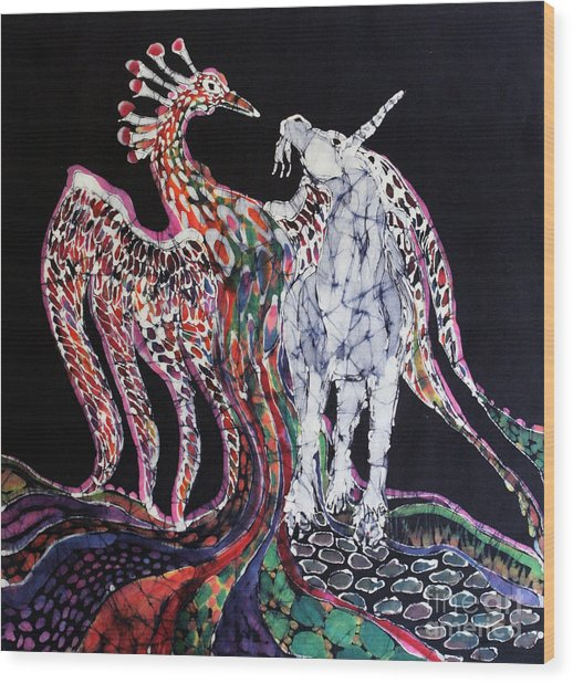 Unicorn And Phoenix Merge Paths Wood Print