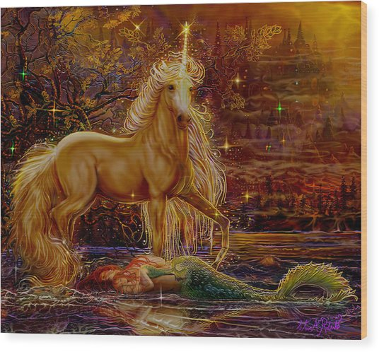 Unicorn And The Mermaid Mother Wood Print