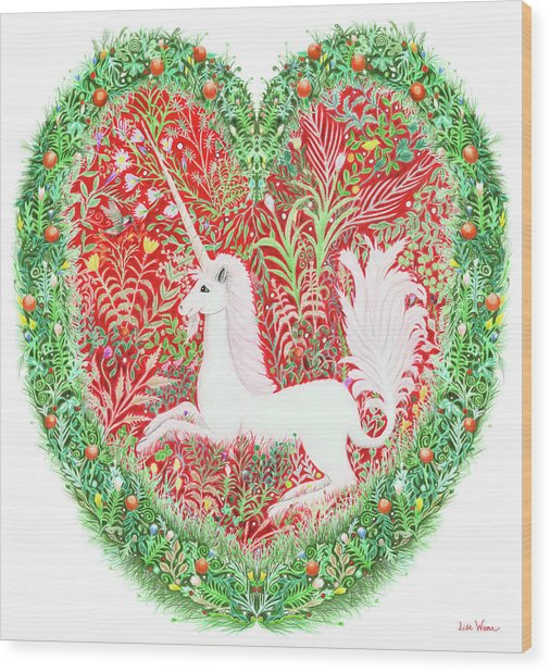 Unicorn Heart With Millefleurs Wood Print