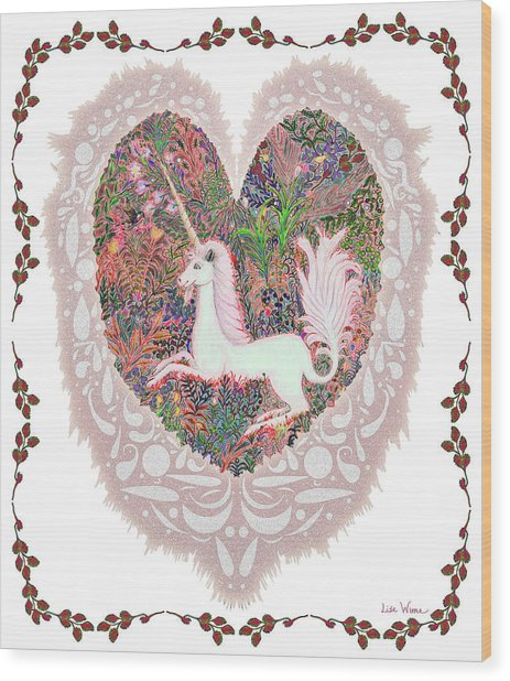 Unicorn In A Pink Heart Wood Print