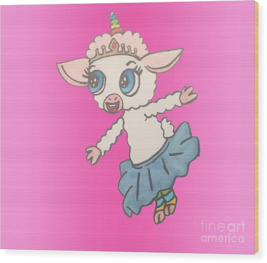 Unicorn Lamb Wood Print