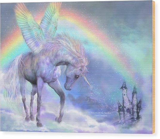 Unicorn Of The Rainbow Wood Print