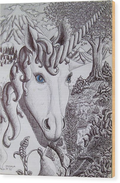 Unicorn On Vacation Wood Print by Joshua Armstrong