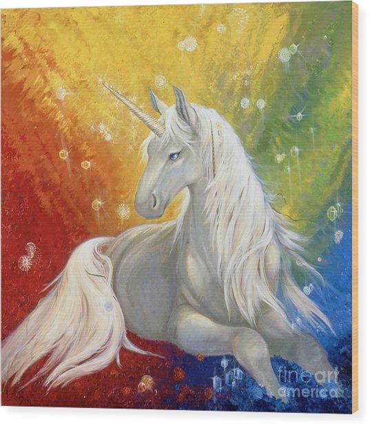 Unicorn Rainbow Wood Print by Silvia  Duran