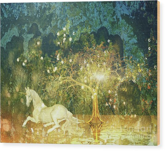 Unicorn Resting Series 3 Wood Print
