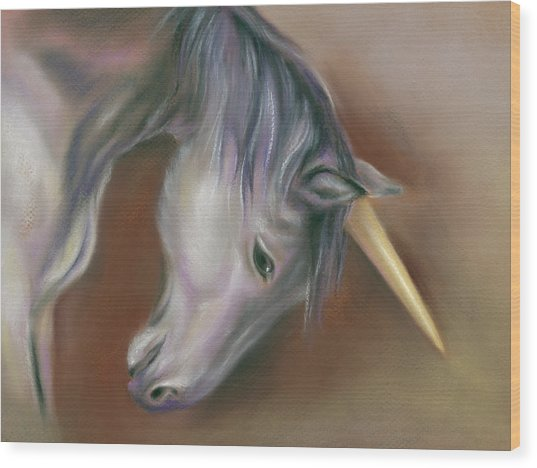 Unicorn With A Golden Horn Wood Print