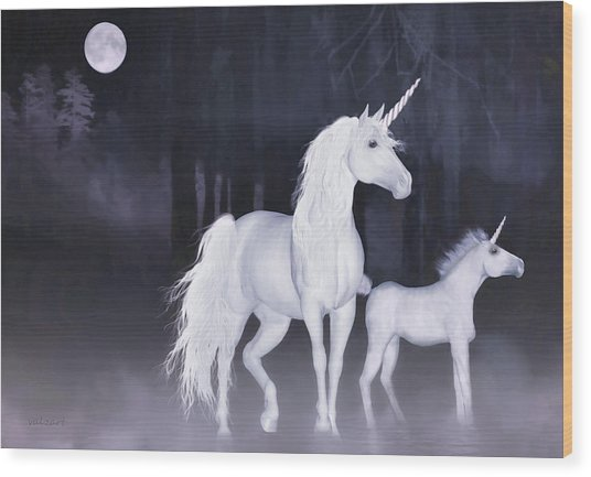 Wood Print featuring the painting Unicorns In The Mist by Valerie Anne Kelly