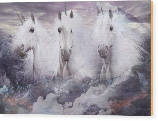 Unicorns Of The Mountains Wood Print