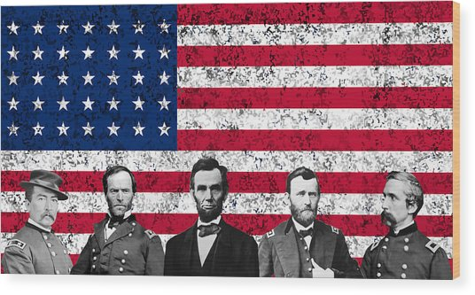 Union Heroes And The American Flag Wood Print